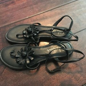 Cole Haan T Strap Leather Flower Sandals